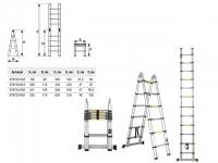 Лестница телескопическая 2-х секц. алюм. 237/500см, 2х8 ступ. 16,95кг STARTUL ST9733-050 в Гомеле