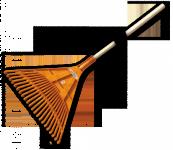 Грабли веерные BRADAS - 22 зубца, черенок деревянный, KT-CX22B в Гродно