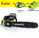 Аккумуляторная цепная пила GreenWorks 40V G-MAX GD40CS40K2 ( +1 АКБ 2А.ч и ЗУ) DigiPRO в Могилеве