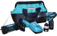 Аккумуляторный ударный шуруповерт Makita HP330DWE в сумке с радио Combo kit 10,8V(HP330DWE+MR051)