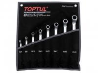 Набор ключей накидн. 6-22мм 8шт (черное полотно) TOPTUL (GPAI0802)
