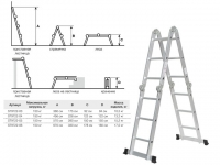 Лестница алюм. STARTUL многофункц. 4х6 ступ. 16,3кг