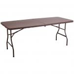 Стол складной 180*76*74, коричневый (имитация ротанга)